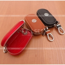 Чехол для ключей с эмблемой и выдавленной надписью Volkswagen, цвет: черный, красный, коричневый.