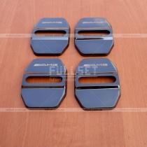 Стальные накладки на петли дверных замков с эмблемой AMG (черный глянец)