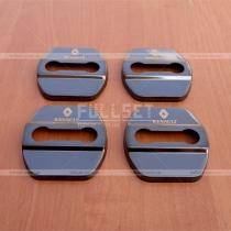 Накладки на петли дверных замков в черном глянце с эмблемой Renault (цена за 4 шт)