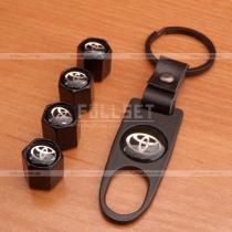 Комплект черных колпачков на ниппеля Toyota с брелком