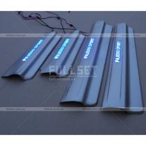 Накладки на пороги широкие с неоновой подсветкой Pajero Sport