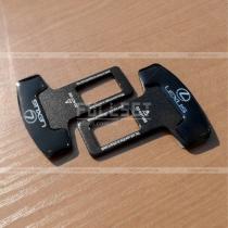 Заглушки-обманки в держатели крепления ремней безопасности, черные с эмблемой Lexus