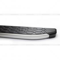 Алюминиевые подножки с серебристым торцом под пороги кузова Фольксваген Туарег
