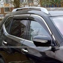 Дефлекторы дверных окон ветровики с хромированным молдингом
