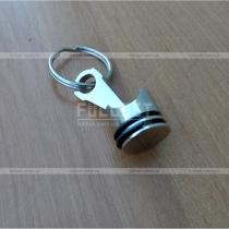 Стальной хромированный брелок для ключей поршень