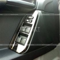 Накладки хром, черные на блок стеклоподъемников Toyota Prado 150 (2018-...)