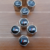 Хромированные колпачки на ниппеля с символикой: M, Alpina, Schnitzer, Hamann