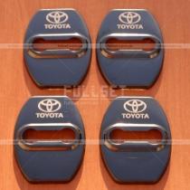 Декоративные накладки на петли дверных замков (4 шт) с эмблемой Toyota, TRD (черные, глянцевые)