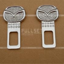 Хромированные заглушки в ремни безопасности, оформленные кристаллами