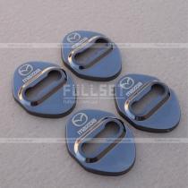 Декоративные накладки на петли (навесы) дверных замков с эмблемой Mazda в исполнении черный глянец