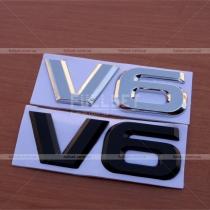 Металлический логотип V6 хром, черный (9 см на 3,5 см)
