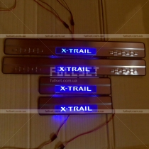 Накладки на пороги с неоновой подсветкой X-Trail 2015+