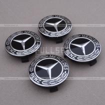 Колпачки в колесные диски с эмблемой Мерседес на черном фоне