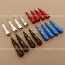 Декоративные колпачки на ниппеля, цвет: черный, красный, синий, сталь. Длинна: 6 см.