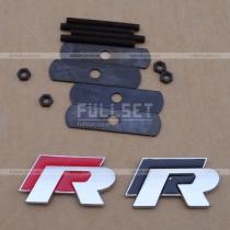 Эмблема-логотип R в решетку радиатора (цвет-черный, красный)