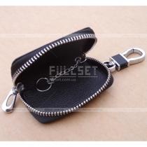 Чехол для ключей с эмблемой (черная кожа)