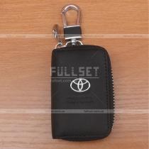Кожаный чехол для ключей с эмблемой и надписью Toyota