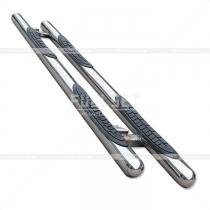 Пороги боковые, в форме труб с приступами под ноги